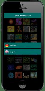 Smartphone mit Museumsapp mit Sprachauswahl
