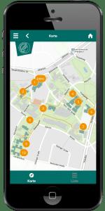 Smartphone mit Museumsapp und interaktiver Karte